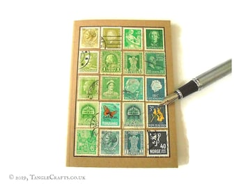 Green turquoise travel notebook - vintage stamp album cover