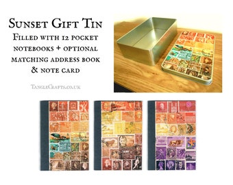 Sunset Heron Souvenir Tin filled with Travel Notebook Gift Set