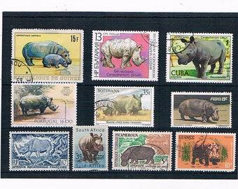 Rhino & Hippo Postage Stamp Selection - vintage rhinoceros hippopotamus