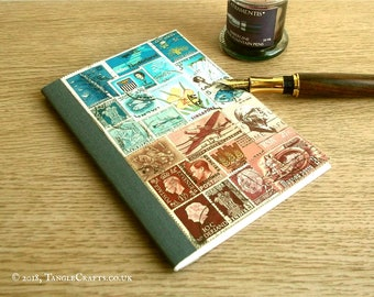 Postage Stamp Art Notebook Journal A6 • Stamp Collector Gift, Philately Art Office Gift • Blue Brown Abstract Landscape, Postal Stamp Cahier