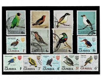 Bird Stamps - Zambia 1977 set, Gambia 1966 part set
