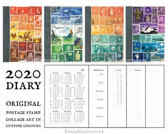Eco Friendly 2020 Diary with Upcycled Postage Stamp Cover