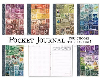 Postage Stamp Journal, Pocket Travel Notebook, Undated Diary • Custom Color Stamp Art, Eco Friendly Collage • Dot grid notes & free journal