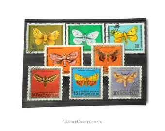 Colourful Moth Postage Stamps, Mongolia 1970s | common lackey, tiger moth, lappet | topical postal stamps for crafts, decoupage, cardmaking