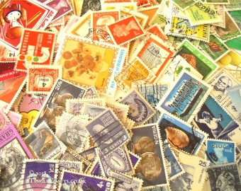 Multicolour World Postage Stamp Packets - colourful rainbow mix stamp selection, perfect for sorting & crafting | includes vintage + modern