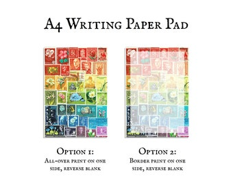 A4 notepad with rainbow postage stamp print