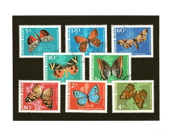 Retro butterfly postage stamp selection, 1960s butterflies & moths on used postal stamps, for crafting, card toppers, collection etc