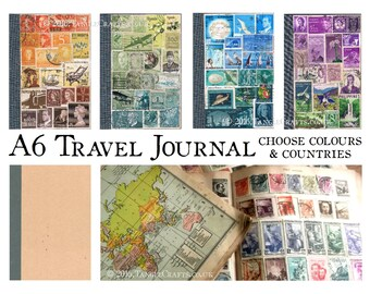 A6 Travel Notebook - Choose Stamp Art Colours & Countries