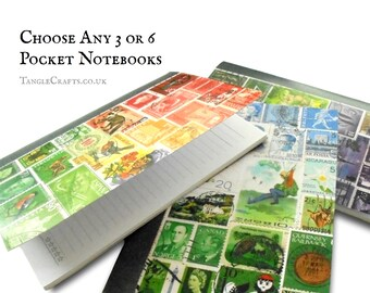 Pick 'n' Mix Set of Postage Stamp Print Notebooks - Choose your favourite!
