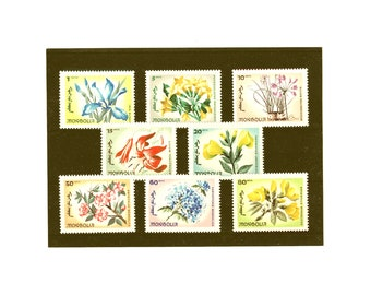 Native Flowers postage stamp set from Mongolia, 1966
