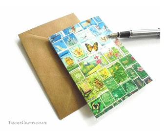 Happy Valley Stamp Art Card, Single or Set - Postage Stamp Notecard, blank inside
