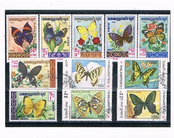 Decorative Butterfly Postage Stamp Collection | vintage butterfly used stamp selection, thematic stamps | card craft toppers, decoupage etc