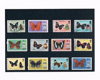 Butterfly Stamp Selection - part sets from Belize (1974) & Bhutan (1975)
