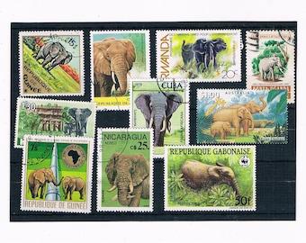 Elephants on Stamps - part sets, 1986 Vietnam, 1987 Laos