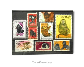 Great Apes & Primates Postage Stamp Selection - mixed countries