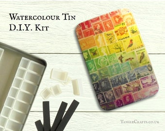 DIY watercolour tin with hinged lid - A6 size, choice of stamp art designs