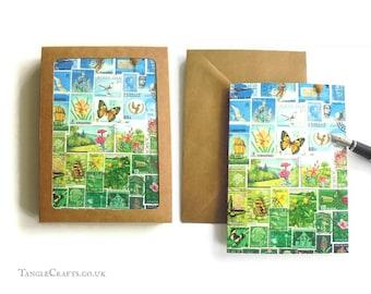 Happy Valley Stamp Art Notecard Set, 4 or 8 - Postage Stamp Landscape Note Cards