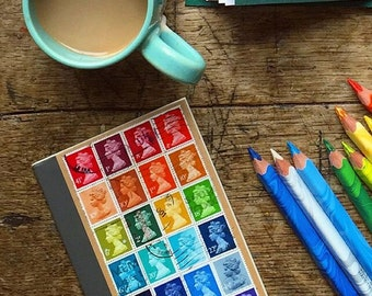 Machin Rainbow A6 Notebook, Postage Stamp Journal