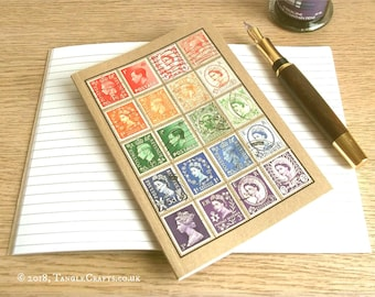 Vintage British Rainbow, Stamp Album-style Travel Notebook