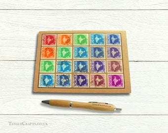 Rainbow India Map Postage Stamp Notebook, dot grid pages