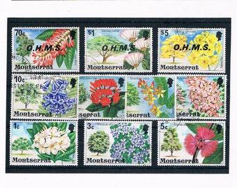 Flowering Trees - part set postage stamps from Montserrat, 1977 & 1980 overprints