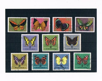 Butterfly Postage Stamp Selection - part sets from Poland 1967 & Ajman 1971
