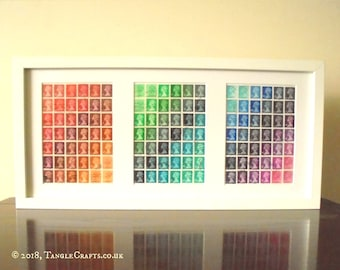 Rainbow Machin Triptych - Framed British Postage Stamps, Recycled Art
