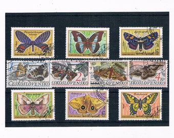 Butterflies & Moths, Vintage Stamp Selection - 1987 Czechoslovakia set, 1990 Yemen part set