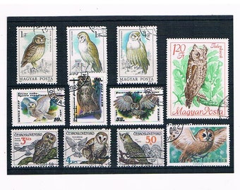 Owls on Postage Stamps - mixed vintage selection