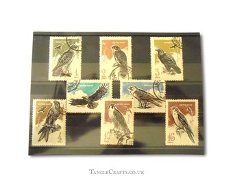 Birds of Prey Vintage Postage Stamp Set - Soviet Union 1965