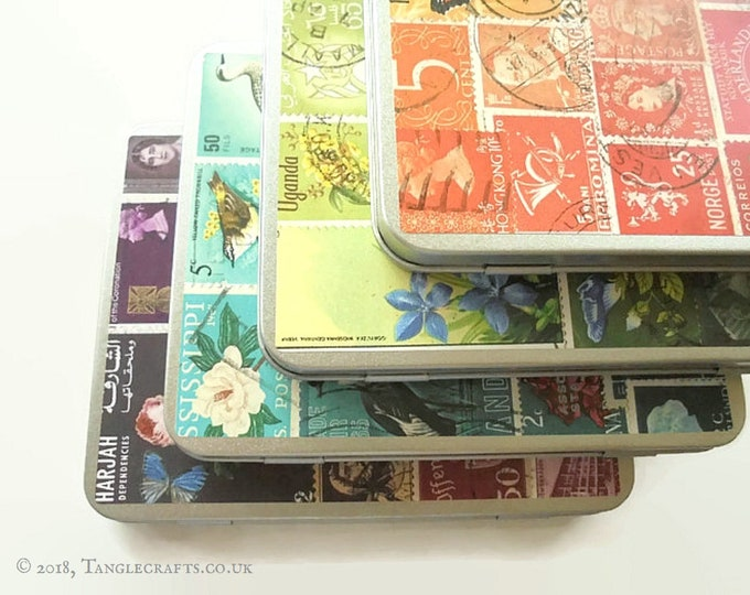 Featured listing image: Tin Anniversary Gift Tin Set - 4 colourful printed designs