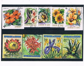Exotic Flower Stamps with gold detail - 1974, Guinea, Burundi