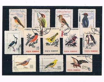 Vintage Birds Postage Stamps - woodpecker, swallow, eagle etc | vintage postal stamps - thematic, topical selection for craft or collection