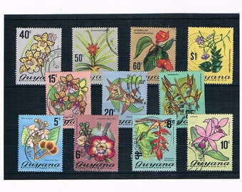 Exotic & Wild Flower Stamps from Guyana | Retro Floral 1970s, seventies, used vintage postage stamps | upcycled card craft, decoupage supply