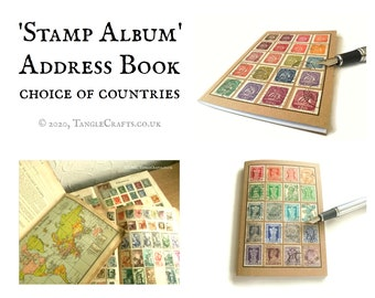 Rainbow address book, choice of countries • stamp album style cover