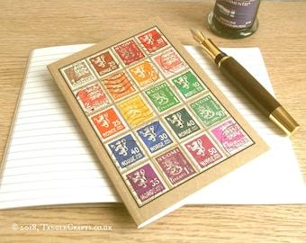 Vintage Scandinavia Stamp Album-style Travel Notebook
