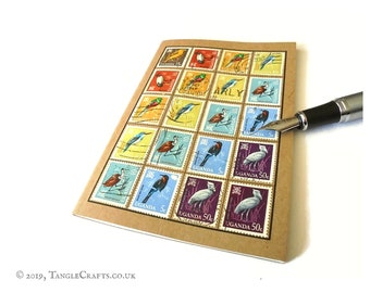 Rainbow Birds Notebook - Album-Style Cover of Upcycled Uganda Bird Stamps