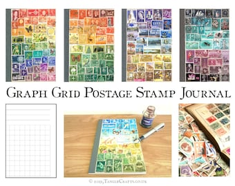 Dot Grid A5 Bullet Journal Notebook - Custom Postage Stamp Art Cover