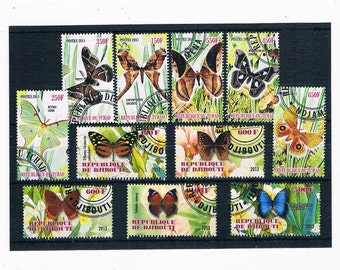 Butterfly Postage Stamps - Chad 2011 & Djibouti 2013