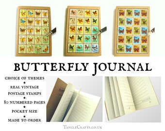 Butterfly Journal, ecofriendly A6 notebook made with real vintage stamps