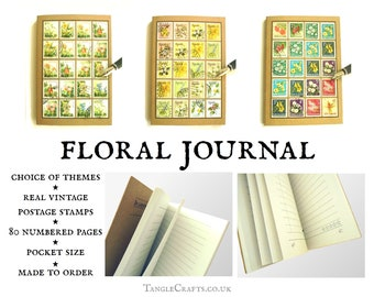 Garden Notes A6 Floral Journal, upcycled with real vintage stamps