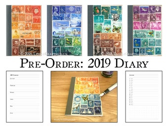 2019 Diary with Original Stamp Art Cover - A6 Month Planner Notebook
