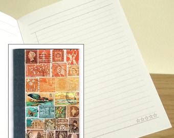 Sunset Heron Notebook - Printed Pocket Postage Stamp Journal