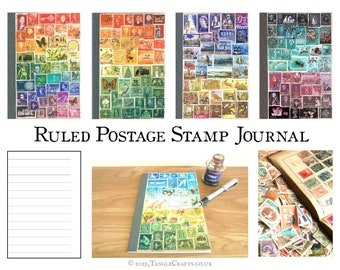 Ruled A5 Travel Journal Notebook - Custom Postage Stamp Art Cover