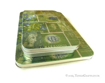 Spring Greens Hinged Storage Tin for A5 Stationery