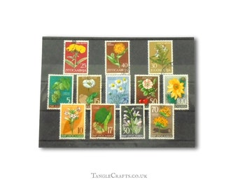Wild Flower postage stamps from Yugoslavia, includes 1955 full set