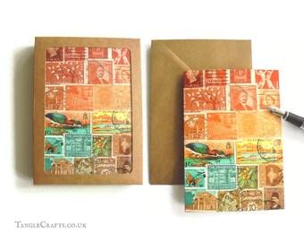 Sunset Heron Stamp Art Notecard Set, 4 or 8 - Postage Stamp Landscape Note Cards