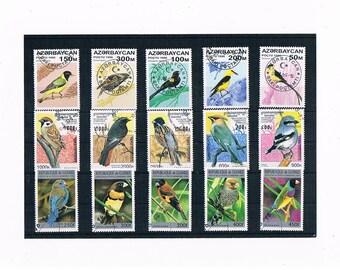 Garden Birds on Postage Stamps - 1996 Azerbaijan, 1997 Cambodia, 1996 Guinea