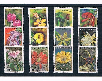 Tanzania Flower Postage Stamps | colourful tropical flowers, floral postal stamps for collection, upcycled card toppers, collage, decoupage