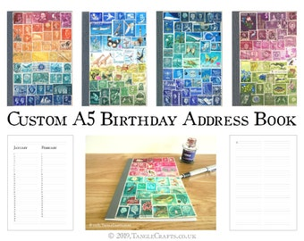 A5 Birthday-Address Book - Original Postage Stamp Art Cover